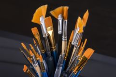 Set of brushes for painting stock photo