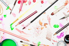 Various art and design paints in background Stock Images