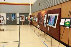 Local school district art fair. Various art pieces on display on a local school district art fair royalty free stock photography