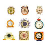 Various assorted clocks group isolated on white Stock Photography