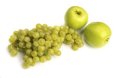Various, assorted fruits grape, apple isolated on the white ba Royalty Free Stock Photography