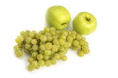 Various, assorted fruits grape, apple isolated on the white ba Royalty Free Stock Photo