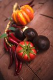 Various, assorted fruits and vegetables. (pumpkin, mushrooms, cauliflower, tomato Stock Images