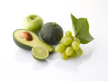 Various, assorted fruits and vegetables on white Stock Photography