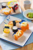 Various assorted sushi on a plate Royalty Free Stock Photo
