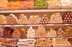 Various assorted Turkish delight in a store market. Delicious delight royalty free stock photo