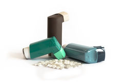 Various Asthma Medications including Inhalers. Of different colours Stock Photo