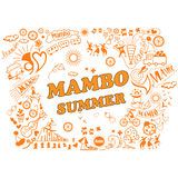 Various attributes of summer holidays in the mambo style. Vector illustration of the various attributes of summer holidays in the mambo style. Relaxation, dance Stock Images