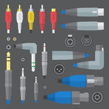 Various audio connectors and inputs set. Vector flat colors various audio connectors and inputs set Royalty Free Stock Photos