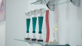 Various awards in the form of cups in the beauty salon.  stock footage