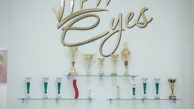 Various awards in the form of cups in the beauty salon.  stock video