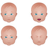 Various Baby Facial Expressions Stock Photo