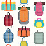 Various Bag types. Pixel art. Seamless pattern. Royalty Free Stock Photos
