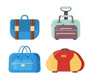 Various bags with handles, straps and clasps for traveling. Set of leather and plastic travel bags. Various bags with handles, straps and clasps for traveling vector illustration