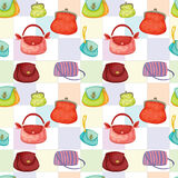 Various bags and purses. Illustration of set of various bags and purses - seamless Stock Photos