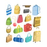 Various bags set. For men and for women Royalty Free Stock Photos