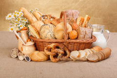 Various baked products in wicker basket Royalty Free Stock Image