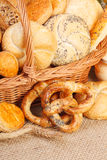 Various baked products in wicker basket Stock Photo