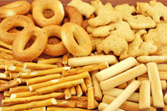 Various bakery. Such as pretzels, sticks, biscuits stock images