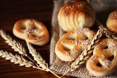 Various bakery products and pretzels Royalty Free Stock Photos