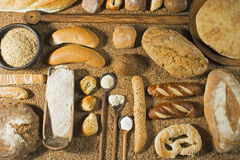 Various bakery on wheat background Stock Photography