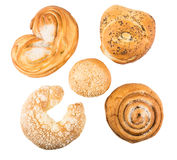 Various baking some delicious sweet rolls Royalty Free Stock Photo