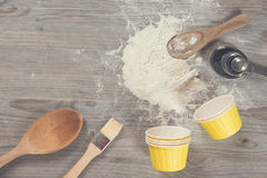 Various baking tools from overhead view Stock Photography