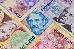 Various banknotes from Argentina Royalty Free Stock Photography