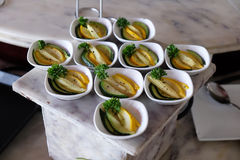 Various banquet snacks prepare for event party at luxury hotel Four Points by Sheraton Agra. Tray of appetizers. finger food serve on platter. Various banquet Stock Image