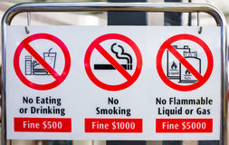 Various bans sign in Singapore. Stock Image