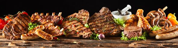 Free Various Barbecued Gourmet Meats On Timber Board Royalty Free Stock Images - 178401489