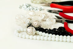 Various beads and tools for making jewelry Royalty Free Stock Image