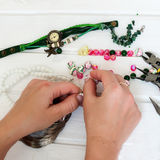 Various beads and tools for making jewelry Stock Image