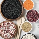 Various beans in bowls. Set of various beans in bowls: white, black, purple and red speckled beans, red and green lentils. White wooden background, top view Royalty Free Stock Photography