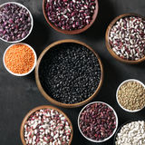 Various beans in bowls Stock Photo