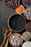 Various beans in bowls Stock Photography
