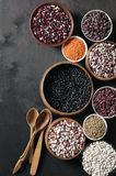 Various beans in bowls Royalty Free Stock Photos