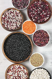 Various beans in bowls Stock Image