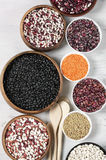 Various beans in bowls Royalty Free Stock Image