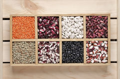 Various beans in box Stock Photos