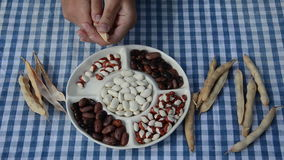 Various beans plate. Plate with various beans standing on blue checked based hand hull dried legume stock footage