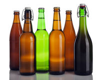 Various beer bottles isolated Stock Photos