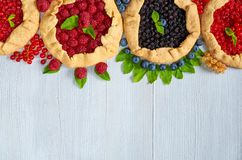 Various berries galette on the gray background. Vegetarian healthy tarts with fresh blueberries, raspberries, red currants. And mint leaves. Delicious dessert Royalty Free Stock Photo