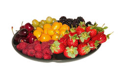 Various berries on the plate Royalty Free Stock Photography