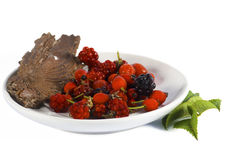 Various berries in a plate. Rosehip berries, raspberries in a plate with some wood skin and leaves isolated on white background Royalty Free Stock Image