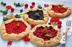 Various berries tarts with knife and fork on the gray concrete background. Vegetarian healthy galette decorated with fresh berries royalty free stock photography