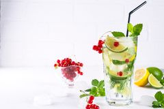 Various berry lemonade or mojito cocktails, fresh iced lemon lime , Red currant infused water, summer healthy detox drinks light b Royalty Free Stock Image