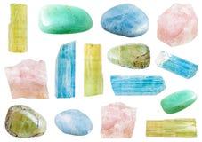 Various beryl mineral crystals and gemstones Stock Photo