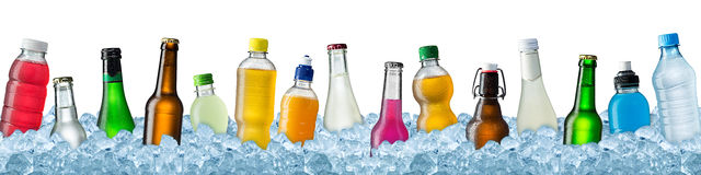 Various beverages in crushed ice Royalty Free Stock Images