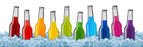 Various beverages in crushed ice royalty free stock photos